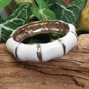 Gold Enamel Cream Bamboo Hinged Bangle Bracelet